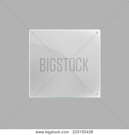 Square Blank Glass Plate Isolated Icon. Glassy Signage Template, Clear Acrylic Signboard Design Elem