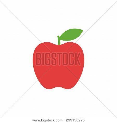 Apple Icon, Simple Design, Apple Icon Clip Art. Clipart Cartoon Fruit Icon.