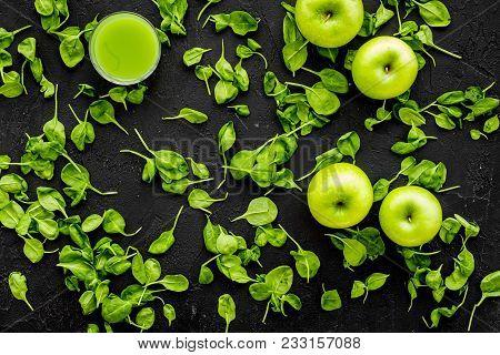 Apple, Celeriac. Vegetables For Greeny Organic Smoothy For Sport Diet On Dark Table Background Top V