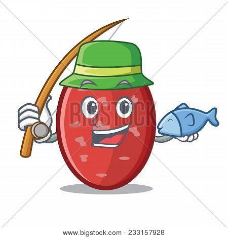 Fishing Salami Mascot Cartoon Style Vector Illustration