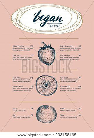 Vegetarian Restaurant Menu Hand Drawn Design With Fruits Pencil Sketches. Vegan Cafe Price Catalog,