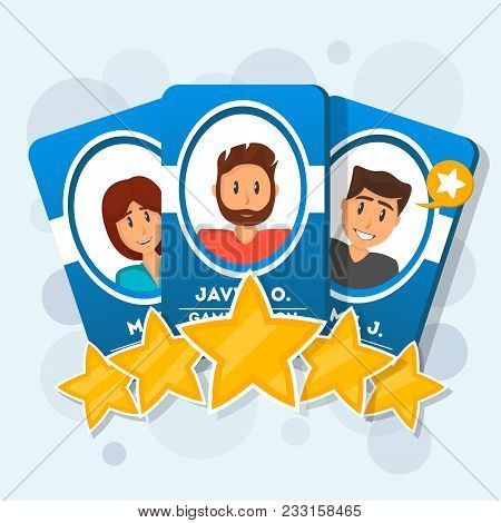 Customer Review With Five Star Rating. Cards With Human Heads, Shot Review And Rating Stars. Positiv