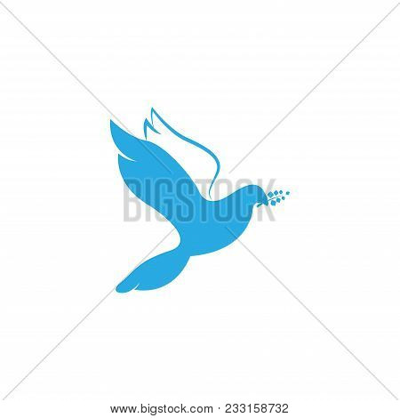 Dove Of Peace. Illustration With Dove Holding An Olive Branch Symbolizing Peace On Earth. Line Art D