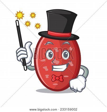 Magician Salami Mascot Cartoon Style Vector Illustration