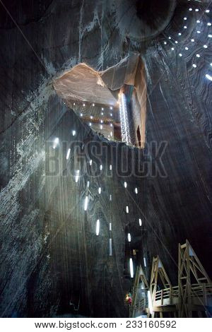 Turda, Romania - March 10, 2018: Inner view of Turda Salt Mine, well known landmark in Transylvania, Romania, Europe