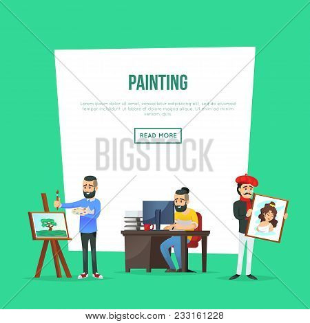 Art School Classes Poster With Artists Painting Artworks. Student In Art Workshop, Painter Drawing O
