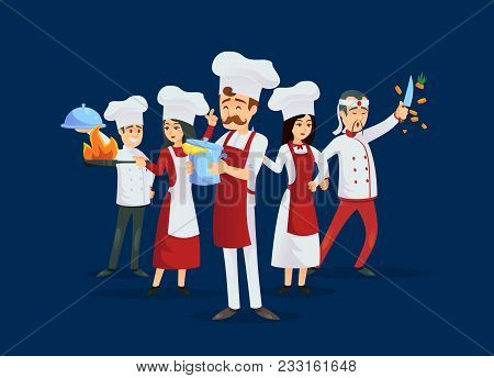 Professional Kitchen Staff Recruitment Concept. Cute Young Chef Team In Red Cooking Uniform And Hat.