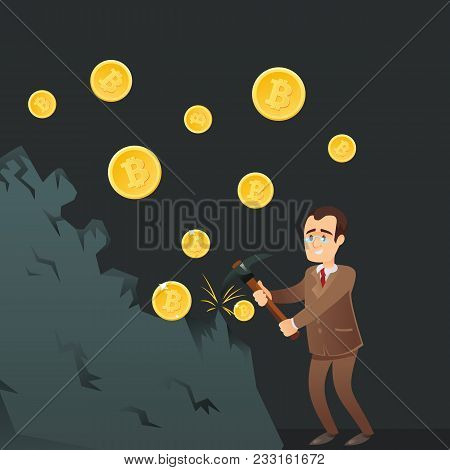 Cryptocurrency And Blockchain Technology Concept. Happy Businessman With Pickaxe Mining Gold Coins F