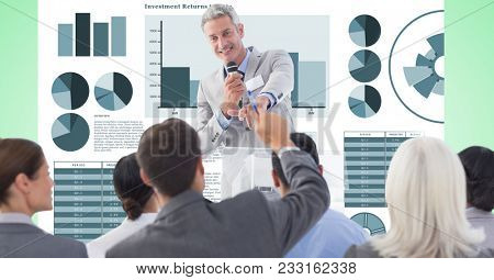 Digital composite of Digitally generated image of business people in meeting