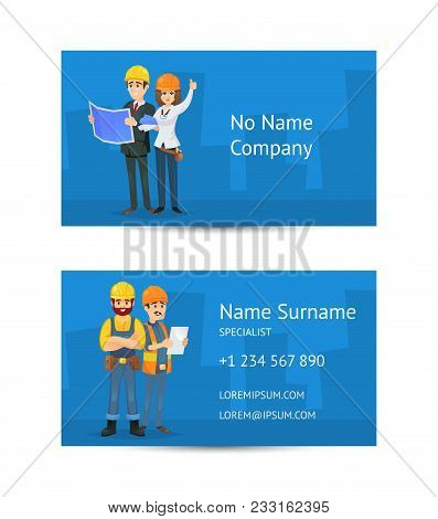 Building Company Business Card Layout With Construction Workers In Uniform And Safety Helmets. Corpo