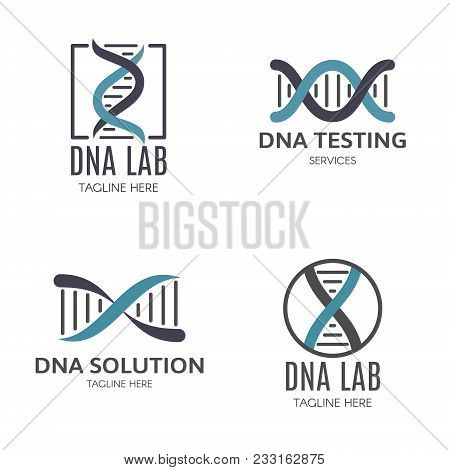 Set Of Logo With Dna And A Place For Text. Vector Illustration