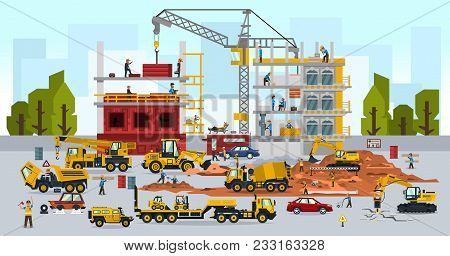 Construction Site, The Work Of A Large Group Of Builders, Building A House. A Set Of Service Vehicle