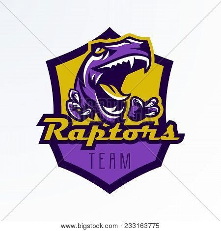 Logo, Badge, Sticker, Dinosaur Emblem And Its Sharp Teeth. Dangerous Beast, Predator Of The Jurassic