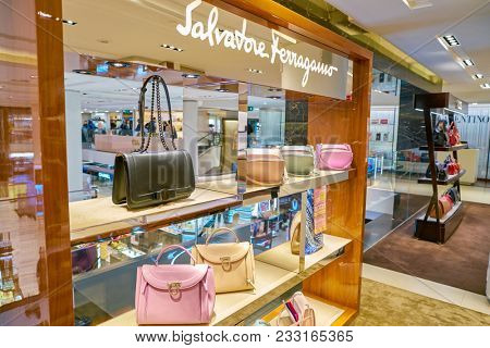 MILAN, ITALY - CIRCA NOVEMBER, 2017: Salvatore Ferragamo bags on display at Rinascente. Rinascente is a collection of high-end stores.
