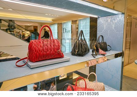 MILAN, ITALY - CIRCA NOVEMBER, 2017: Miu Miu bags on display at Rinascente. Rinascente is a collection of high-end stores.