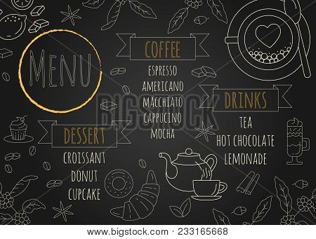 Coffee Restaurant Brochure Vector, Coffee Shop Menu Design. Modern Cafe Template With Coffee And Tea