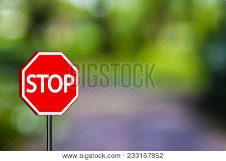 Stop Sign Traffic Signs,red Stop Sign On Blue Green Nature Background