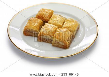 walnut baklava, turkish traditional dessert isolated on white background