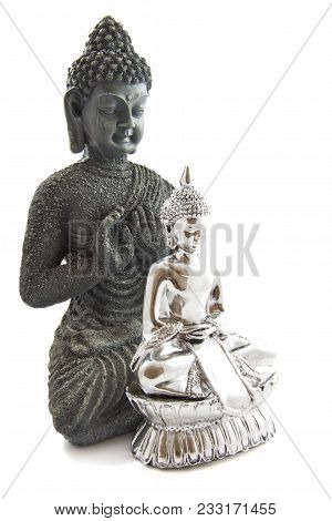 Big Budha And Little Budha In Front Over White