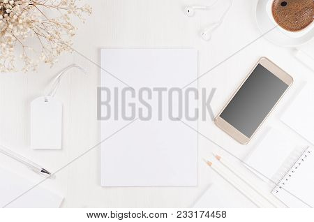 Spring Modern Blank White Business Stationery Set With Letterhead, Card, Label, Paper, Notepad, Phon