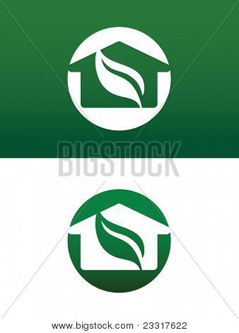Round Green House Vector Both Solid and Reversed for Ecology, Recycling, Company, Service or Product.