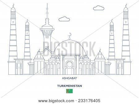 Ashgabat Linear City Skyline, Turkmenistan. Famous Places