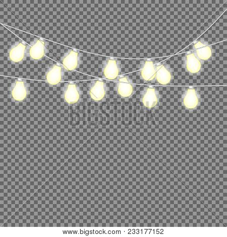 Set Of Overlapping, Glowing String Lights.  Christmas Glowing Lights.  Glowing Lights For Party, Hol