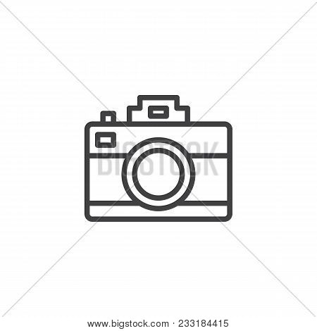 Photo Camera Outline Icon. Linear Style Sign For Mobile Concept And Web Design. Photographic Camera