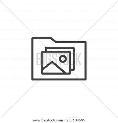 Photo Gallery Folder Outline Icon. Linear Style Sign For Mobile Concept And Web Design. Photo Landsc