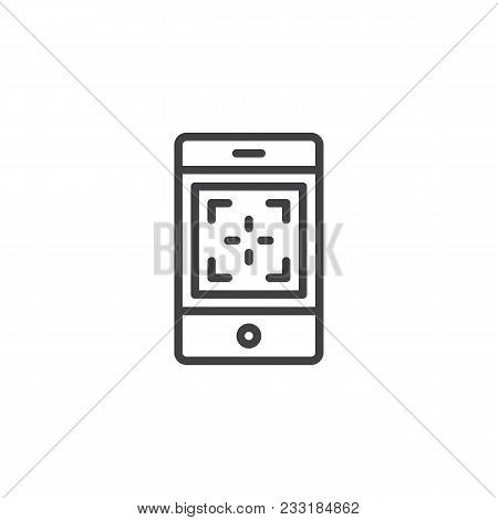 Mobile Phone Camera Focus Outline Icon. Linear Style Sign For Mobile Concept And Web Design. Focusin