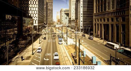 Detroit, Michigan, Usa - March 20, 2018: Panorama Of Downtown Detroit Street On Woodward Avenue. Det