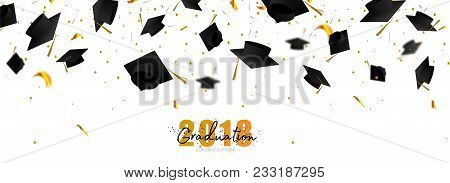 Graduate Caps And Confetti On A White Background. Caps Thrown Up. Typography Greeting, Invitation Ca