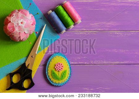Small Felt Easter Egg Decor, Colored Thread Set, Pincushion, Scissors, Flat Felt Sheets On A Purple