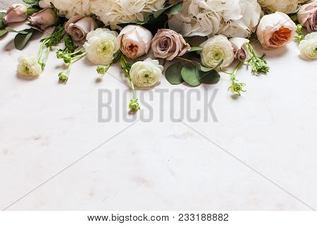 Stylish Wedding Fragily Flowers Border. Holiday Design With Copy Space