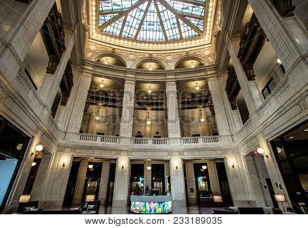Detroit, Michigan, Usa - March 20, 2018: The Interior Of The David Whitney Building In Detroit. Comp