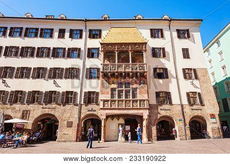 Innsbruck, Austria - May 21, 2017: The Goldenes Dachl Or Golden Roof Is Landmark In Altstadt Old Tow