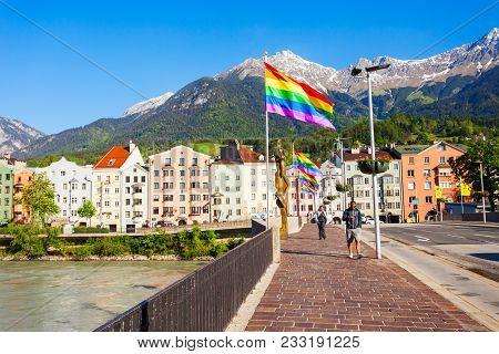 Innsbruck, Austria - May 22, 2017: Innsbruck Bridge Through The Inn River. Innsbruck Is The Capital