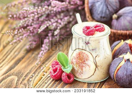 Beautiful Healthy Appetizer Figs Fruit Smoothie Milk Shake In Glass Jar Decorated Fresh Figs Pink Ra