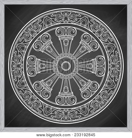 Dharma Wheel, Dharmachakra. Symbol of Buddha's teachings on the path to enlightenment, liberation from the karmic rebirth in samsara. Tattoo design. Chalk on a blackboard imitation. EPS10 vector poster