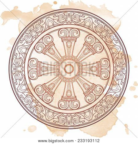 Dharma Wheel, Dharmachakra. Symbol of Buddha's teachings on the path to enlightenment, liberation from the karmic rebirth in samsara. Tattoo design. Textured background. EPS10 vector illustration poster