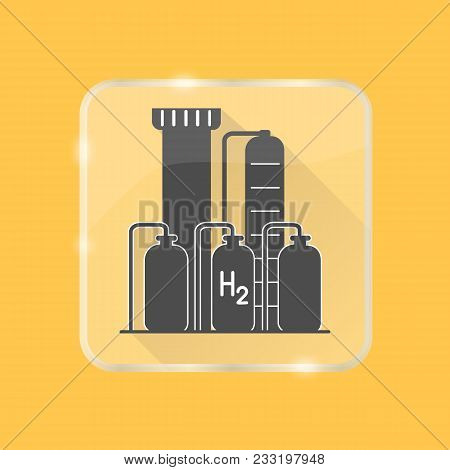 Hydrogen Plant Silhouette Icon With Long Shadow In Flat Style On Transparent Button. Renewable Energ