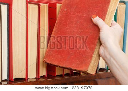 Female Hand Is Taking A Book From A Bookshelf. Many Hardback Books On Wooden Shelf. Library Concept