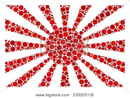 Japanese Rising Sun Collage Of Filled Circles In Variable Sizes And Color Tinges. Dots Are United In
