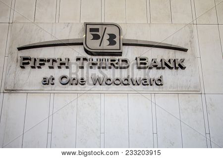 Detroit, Michigan, Usa - March 22, 2018: Exterior Of Fifth Third Bank On Woodward In Detroit. The Mi