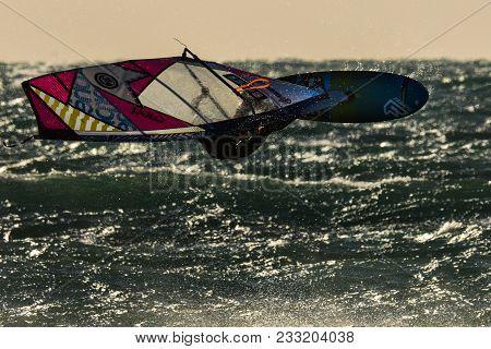 30 Jan 2015, Les Arqueirons, Camargue, France, Windsurfer In The Evening Sun