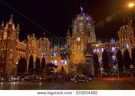 Chhatrapati Shivaji Terminus, Railway Station At Night Mumbai, Maharashtra, India
