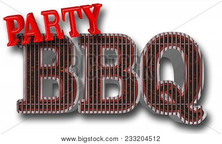Stock Illustration - Bbq Party Bright Red Text Party Text Bbq In The Shape Of The Grill, Big Glowing