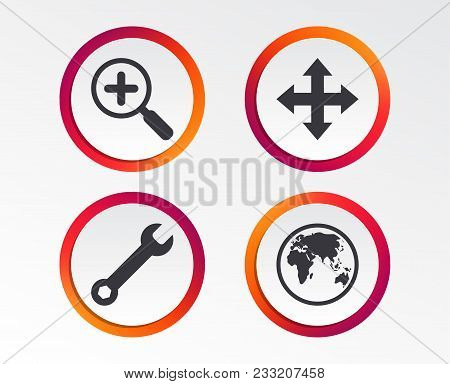 Magnifier Glass And Globe Search Icons. Fullscreen Arrows And Wrench Key Repair Sign Symbols. Infogr