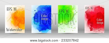 Design Cover With A Picture Of Watercolor Spray. A Set Of Rectangular Objects For The Design Of A Co
