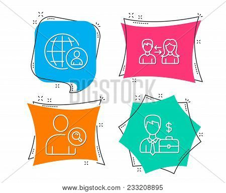 Set Of International Recruitment, Find User And People Communication Icons. Businessman Case Sign. W